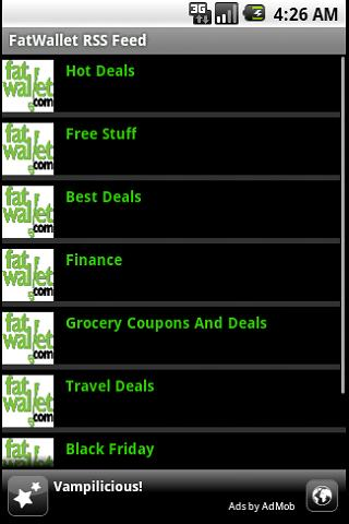 Fat Wallet RSS Reader Android Shopping