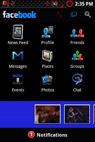Black Facebook (LIght Blue Ve) Android Social