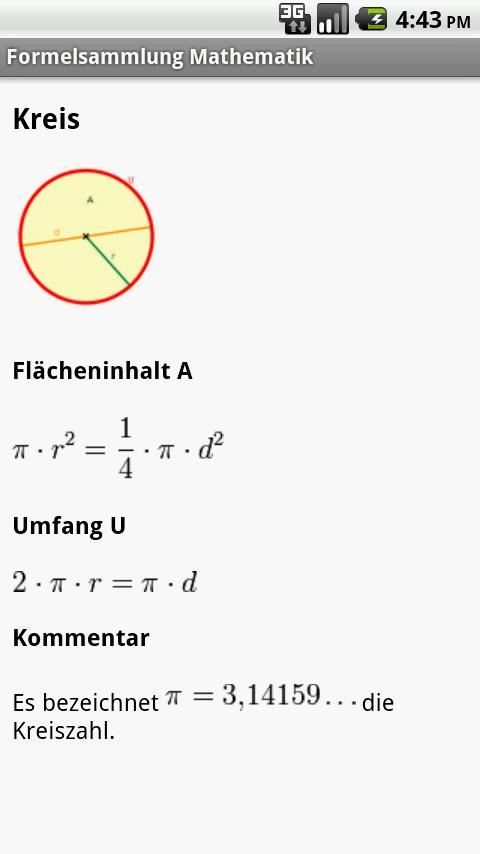 Formelsammlung Mathematik Android Education