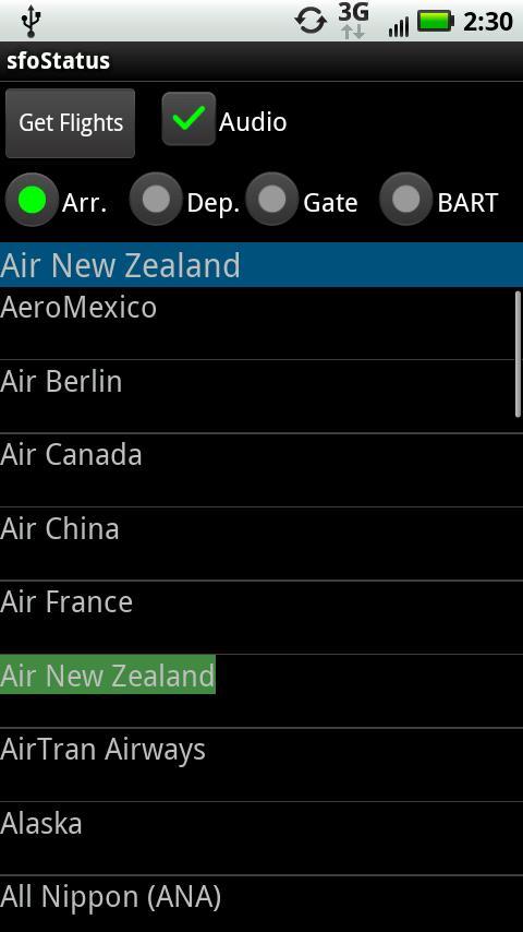 SFO Status Android Travel