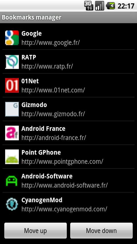 Bookmarks manager Android Tools