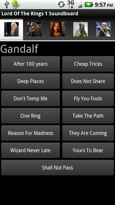 Lord Of The Rings Soundboard Android Entertainment