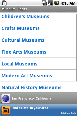 Museum Finder Android Travel