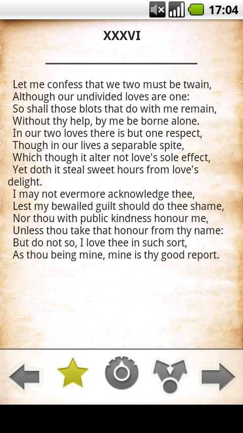 Shakespeare Sonnets free Android Reference