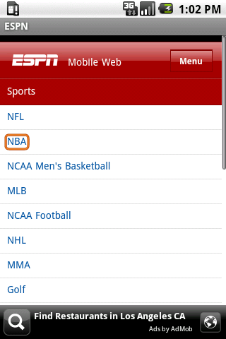 ESPN Total Android Sports