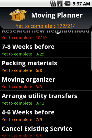 Moving Planner Android Lifestyle