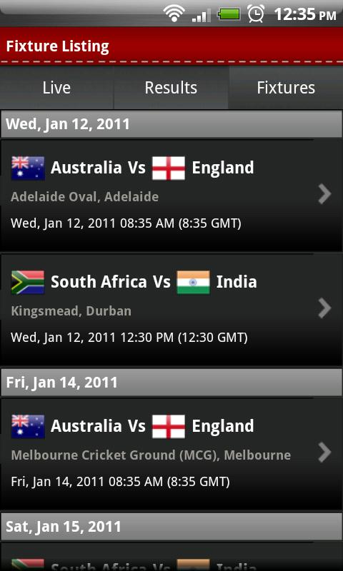 Cricket World Cup 2011 Android Sports