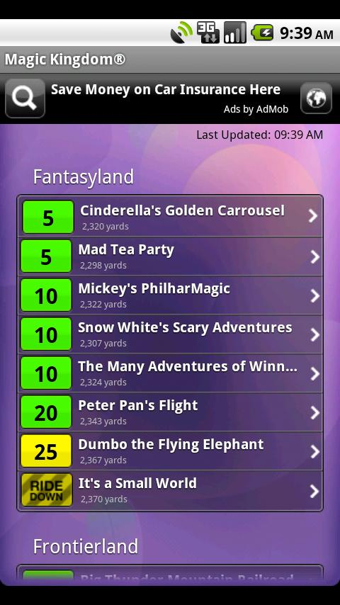 Disney World Wait Times Lite Android Travel & Local