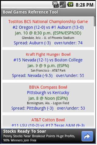 Bowl Game Prediction Helper Android Sports