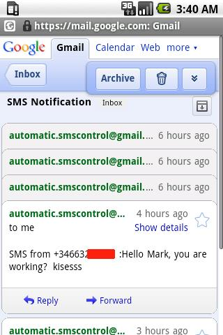 SMS  Control  eMail Android Communication