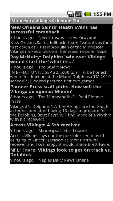 Vikings Schedule Plus Android Sports