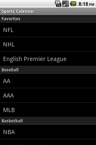 Sports Calendar Android Sports