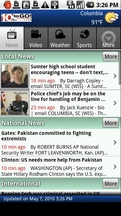 WIS news on 10toGO Android News & Weather