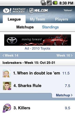 Yahoo! Fantasy Hockey Android Sports