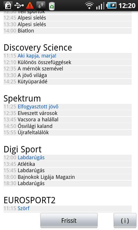 Mi megy a Tv-ben magyar widget Android Tools best android