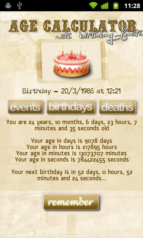 Age Calculator Birthday Facts Android Tools