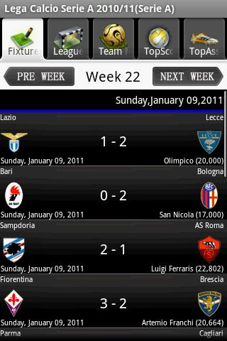 Serie A 2010/11 Android Sports