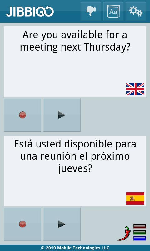 Jibbigo English/Spanish Android Travel