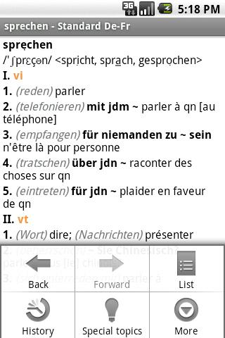 PONS Standard FRENCH Dict Android Reference