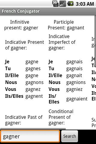 French Conjugator Android Education