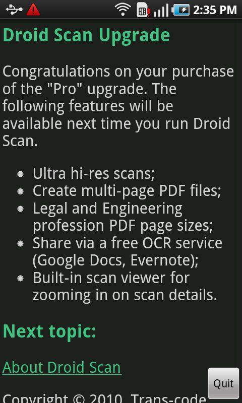 Droid Scan Upgrade Android Business