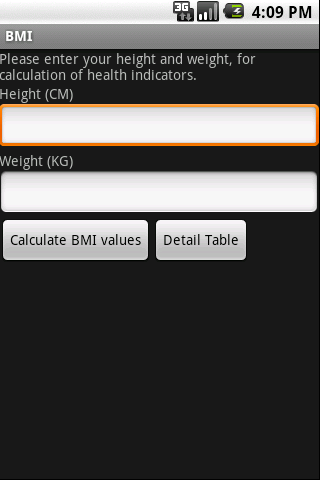 BMI(Body Mass Index)For Europe Android Health