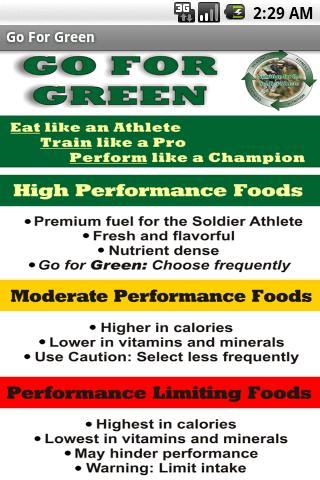 Go For Green-US Army Nutrition Android Health