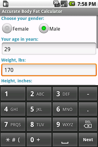 Accurate Body Fat Calculator Android Health & Fitness