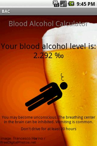 Blood Alcohol Calculator Android Health & Fitness