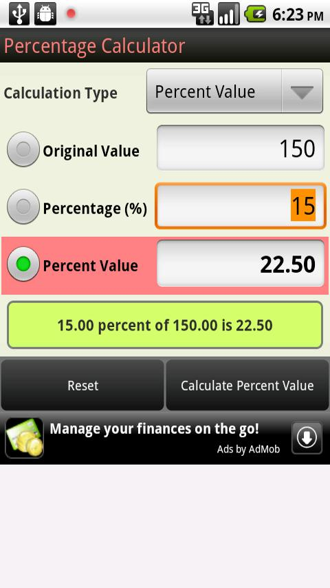 Percentage Calculator Android Shopping