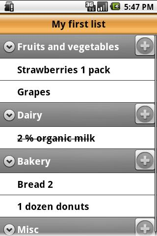 Voice Grocery List Android Shopping
