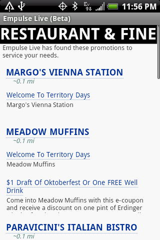 Empulse Live Android Shopping