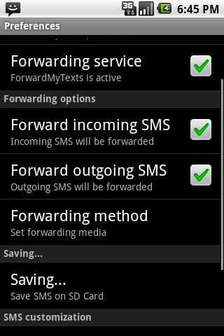 ForwardMyTexts Plus Android Communication