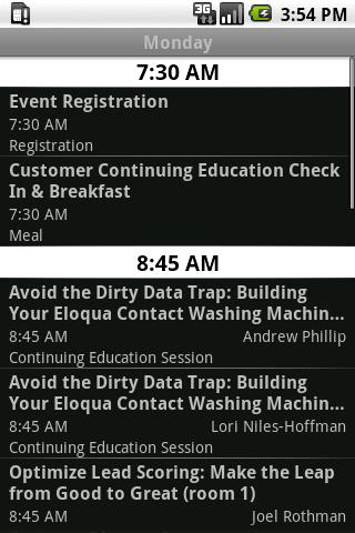 Eloqua Experience 2010 Android Communication