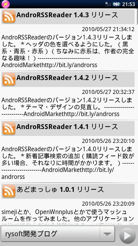 AndroRSSReader Android Communication