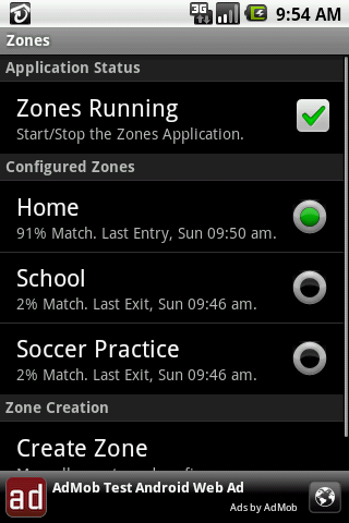 Zones Android Communication