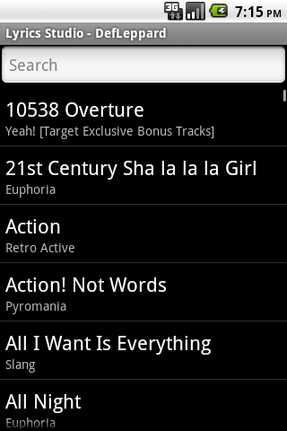 Def Leppard Lyrics Studio Android Entertainment