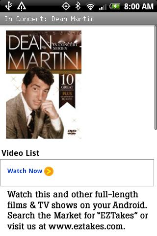 In Concert: Dean Martin Android Entertainment