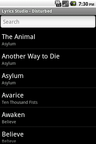 Disturbed Lyrics Studio Android Entertainment