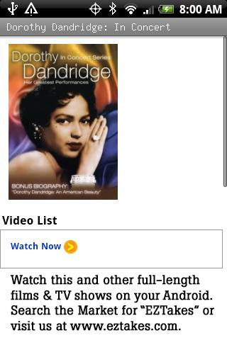 Dorothy Dandridge: In Concert Android Entertainment