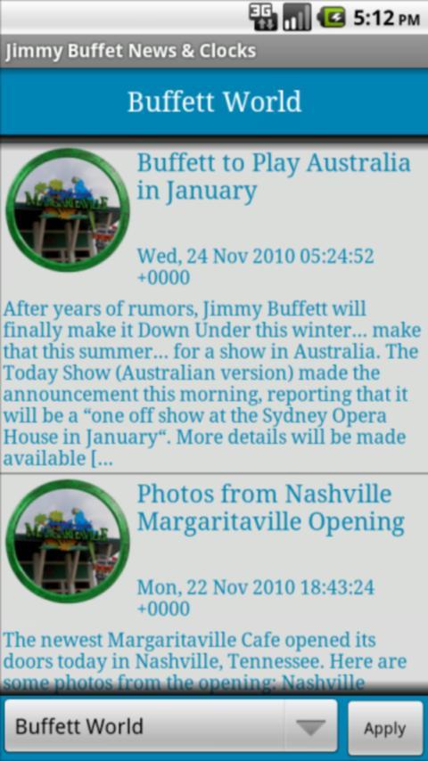 Jimmy Buffett Clocks & News Android Entertainment
