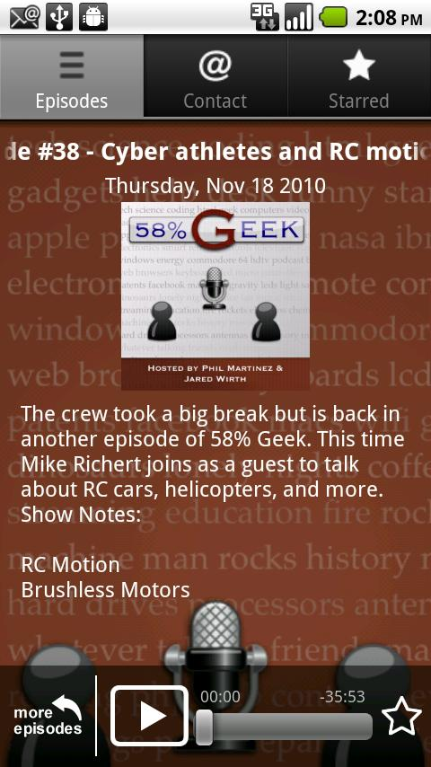 58% Geek Podcast App Android Entertainment