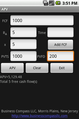 Valuation Android Finance