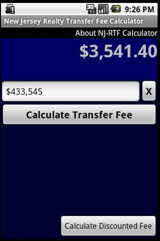 Real Estate Transfer Fee Calc Android Finance