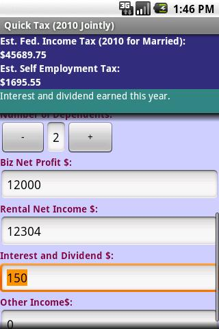 Quick Tax (2010 Jointly) Android Finance