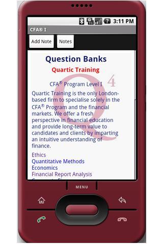 CFA Exam Question Lite cfa Android Finance