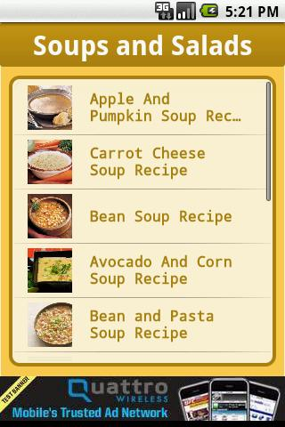 Recipes : Soups and Salads Android Lifestyle