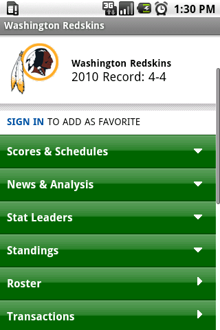 Washington Redskins Android Android Sports
