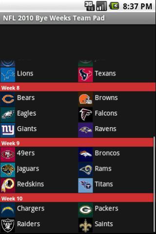 NFL 2010 Bye Weeks Team Pad Android Sports
