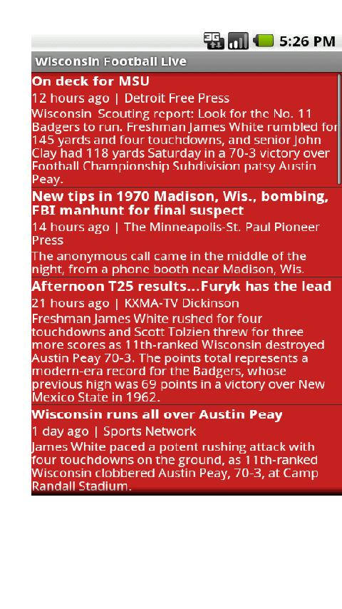 Wisconsin Football Live Android Sports